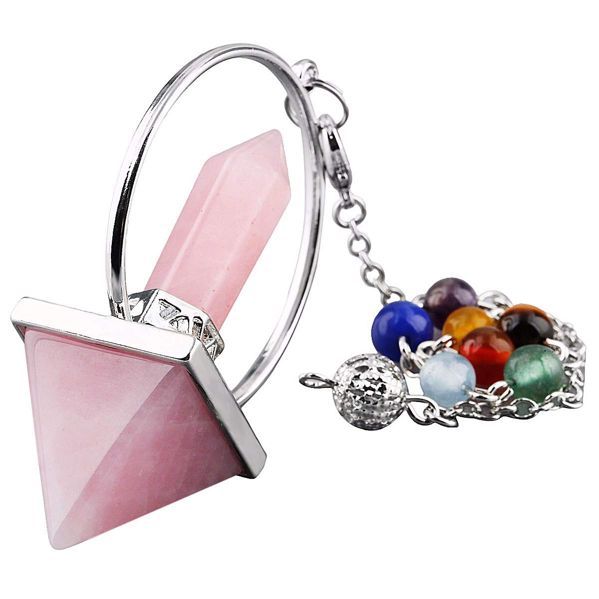 TUMBEELLUWA Healing Crystal Quartz 7 Chakra Pendulum Dowsing Gemstone Divination Reiki Stone,Rose Quartz