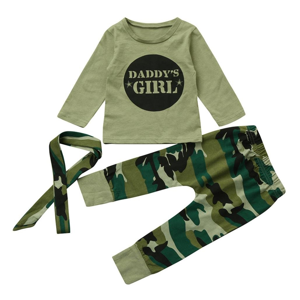 Voberry for 0-18 Months Kids, 3Pcs Newborn Toddler Baby Girls Print Letter Tops+Camouflage Pants Outfits Set Fashion Autumn Winter Clothes