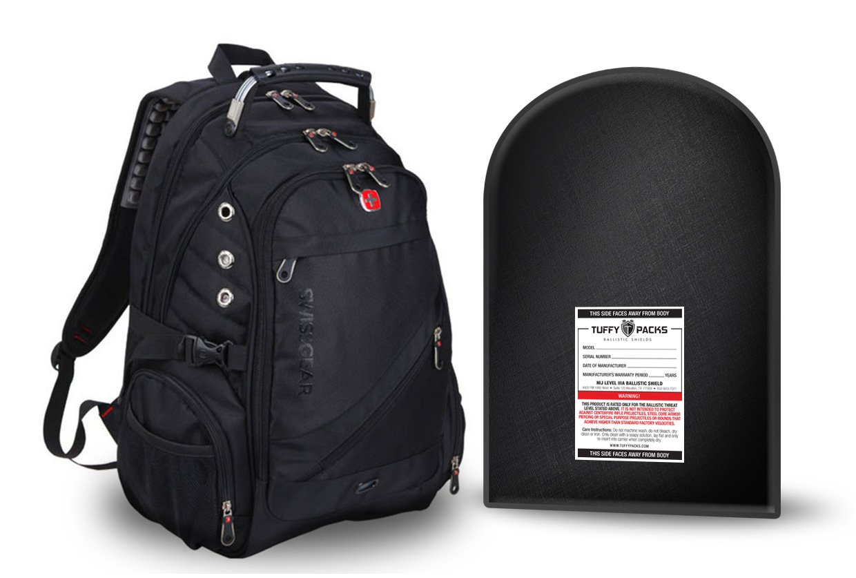 SwissGear ScanSmart Backpack (Black) with Removable Bulletproof Ballistic Shield. Watch Our Shooting Video.