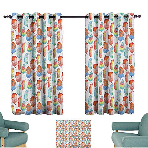 Feather Decor Curtains Hand Painted Style Collection of Colorful Feathers Artistic Vintage Nature 70%-80% Light Shading, 2 Panels,55