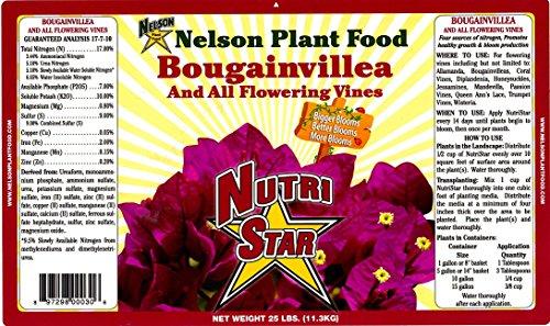 Nelson Bougainvillea & All Flowering Vines Food Trumpet Wisteria Honeysuckles Indoor Outdoor Granular Fertilizer NutriStar 17-7-10 (25 LB)