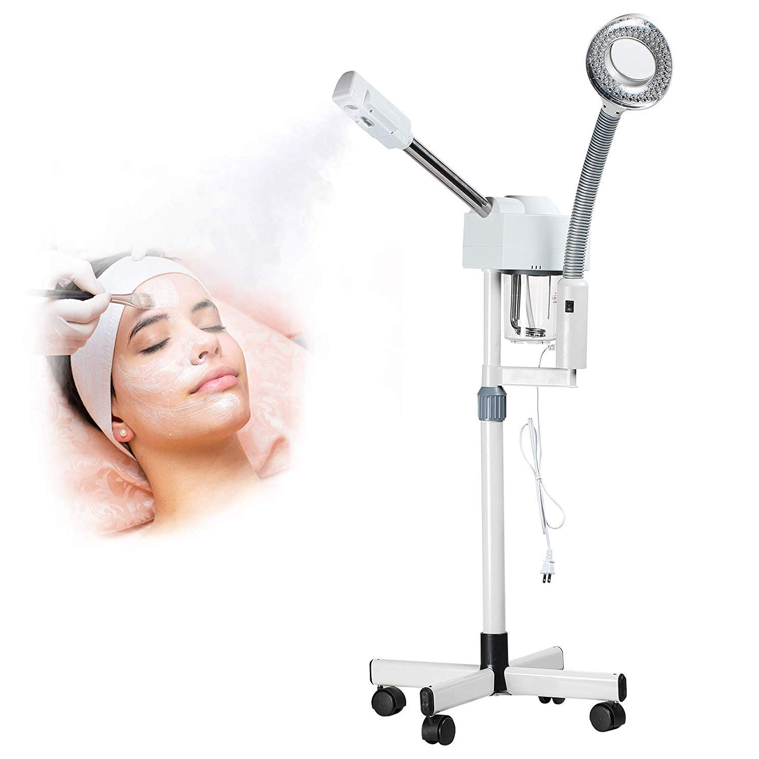 Dakavia 2 in 1 Aromatherapy Professional Ozone Facial Steamer with 5X Magnifying Lamp Multifunctional LED Light, Magnifier Hot Spray Facial Steamer, Spa Beauty Skin Care Equipment
