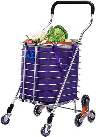 Carritos de la compra 8 Ruedas, Tienda de comestibles Lavandería Escalera Carro de Servicios públicos, Carrito para Equipaje Plegable, Carrito Ligero portátil: Amazon.es: Hogar