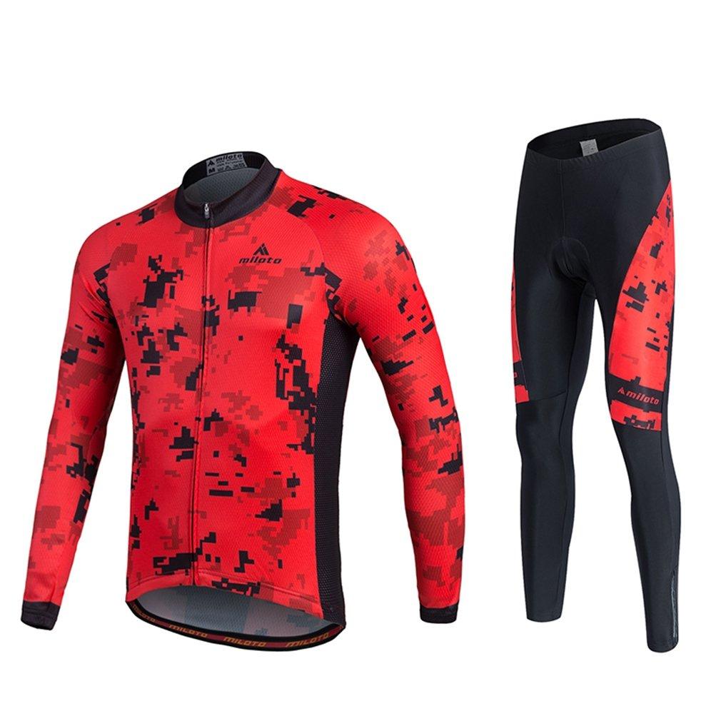 Uriahメンズサイクリングジャージーとパンツセット長袖反射 B07H6HS2RZ XXXX-Large Pixel Red Pixel Red XXXX-Large
