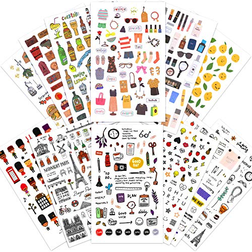 1000Art Planner Stickers Set(12 Sheets / 400+) Clothes,Beauty,Drinks,Travel Life,Emjio,College Planner Stickers for Daily Planner,Bullet Journals,Scrapbooks,Calendars,DIY Arts and Crafts, Album -