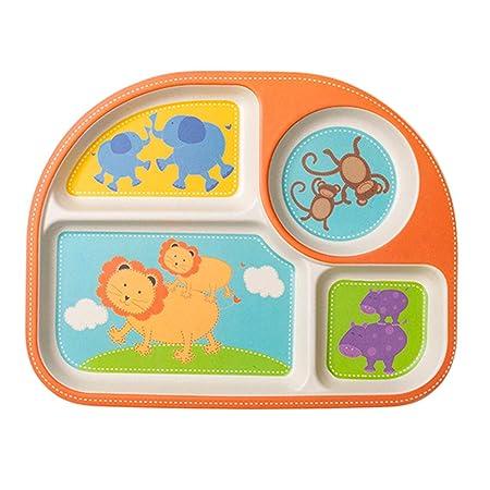 EULANT Platos Compartimento para Bebé, 2pcs Cuberteria Infantiles Bambu, Set de Vajilla Infantil Seguro Degradables Materiales Sin BPA, No Aptos para ...