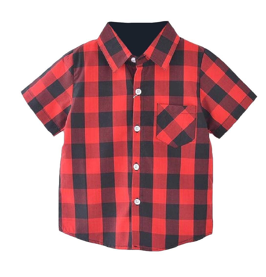 Hajotrawa Boys Short Sleeve Button Down Lapel Plaid Cozy Soft Shirts