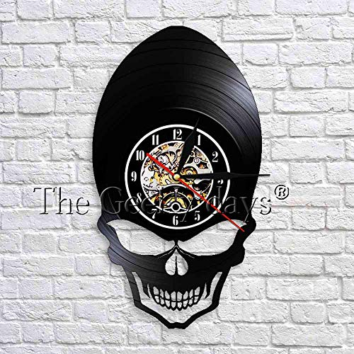 GZGJ Demon Alien Skull Wall Clock Retro Clock Watch Goth Scary Wide Cheekbones Eyes Skeleton Vinyl Record Wall Clock Decor