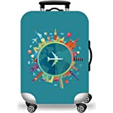 WUJIAONIAO Travel Luggage Cover Spandex Suitcase Protector Washable Baggage Covers (L (for 25--28 inch luggage), Go Travel)