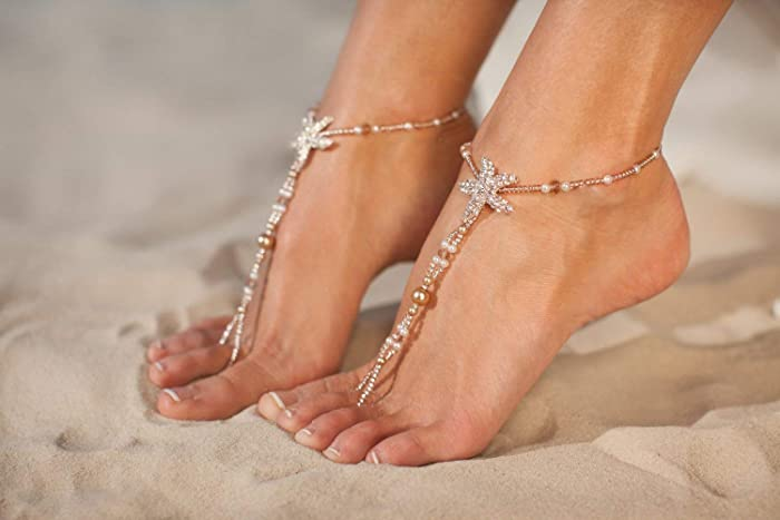 Sold As Pair Sealife Starfish Barefoot Sandals Anklet