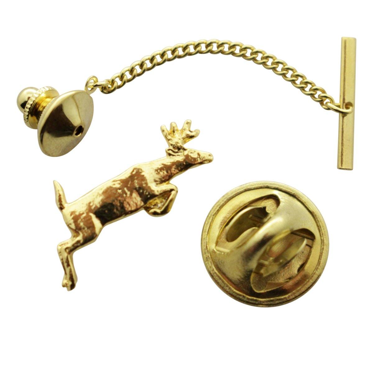 Leaping Deer Tie Tack ~ 24K Gold ~ Tie Tack or Pin ~ Sarah's Treats & Treasures G.G. Harris STT-M420-G-TT