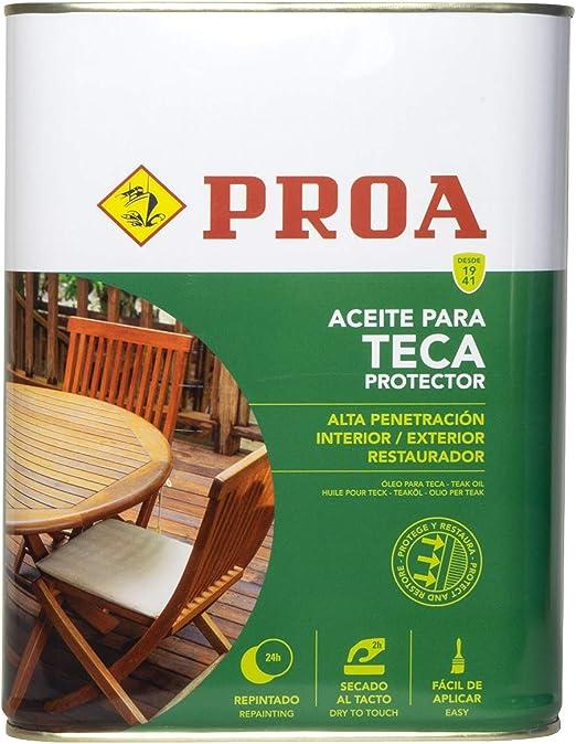 Proa. Aceite para Teca, Transparente, 4 L: Amazon.es: Bricolaje y herramientas
