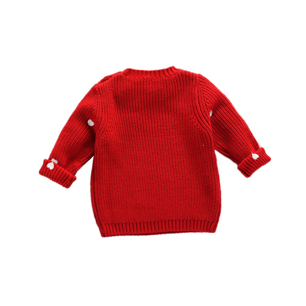 ALLAIBB Little Baby Girls Sweater Knitted Embroidery Hearts Patterns Cotton