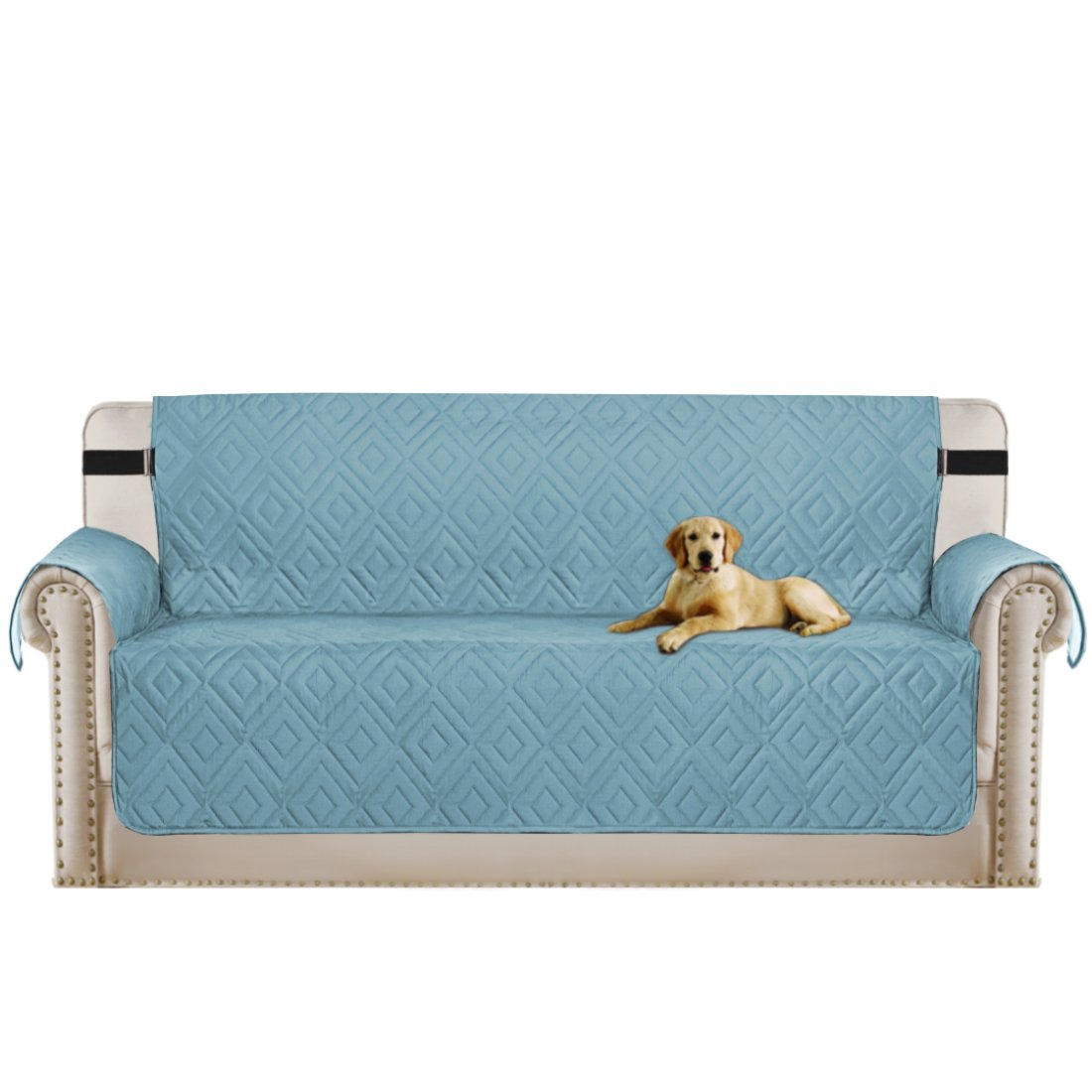 Turquoize Pet Friendly Protector for Sofa with Adjustable Straps Furniture Cover with Adjustable Straps, Perfect for Kids, Dogs and Cats, Seat Width up to 66'' (Blue/Beige, Sofa 86''x132'')