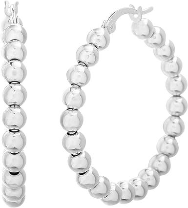 Beaded Hoop Earrings Sterling Earrings Silver Hoop Earrings Made to order