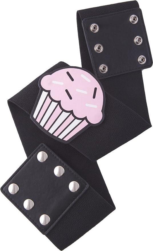 Vintage Retro Belts Vintage Cupcake on Wide Black Stretch Belt from Sourpuss Clothing $7.99 AT vintagedancer.com