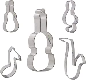 Music Cookie Cutter Set - 5 pcs Stainless Steel guitar violin note saxophone treble clef Shaped - Cutters Easy To Clean - Decorations for Fondant Fruit Mold Dough Keks Vegan Biscuits and more