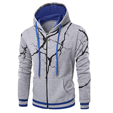 2471c6886431 Amazon.com: Sweatshirts Men New Mens Zip Up 3D Hooded Hoody Jacket  Lightning Printed Male Top Outerwear Casual Sweatshirt: Clothing