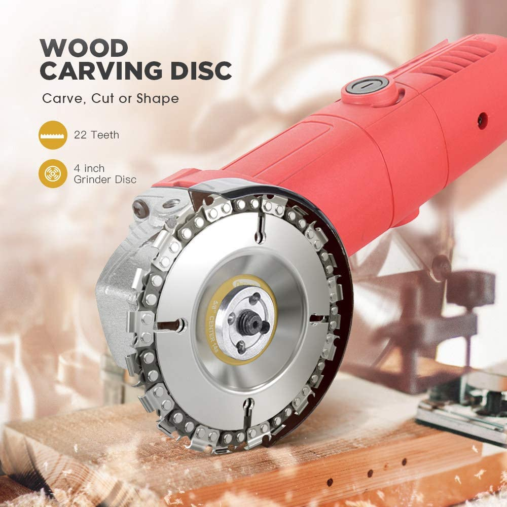 4 Inch Grinder Chain Disc 22 Tooth Wood Carving Disc For 100//115 Angle Grinder,4 inch
