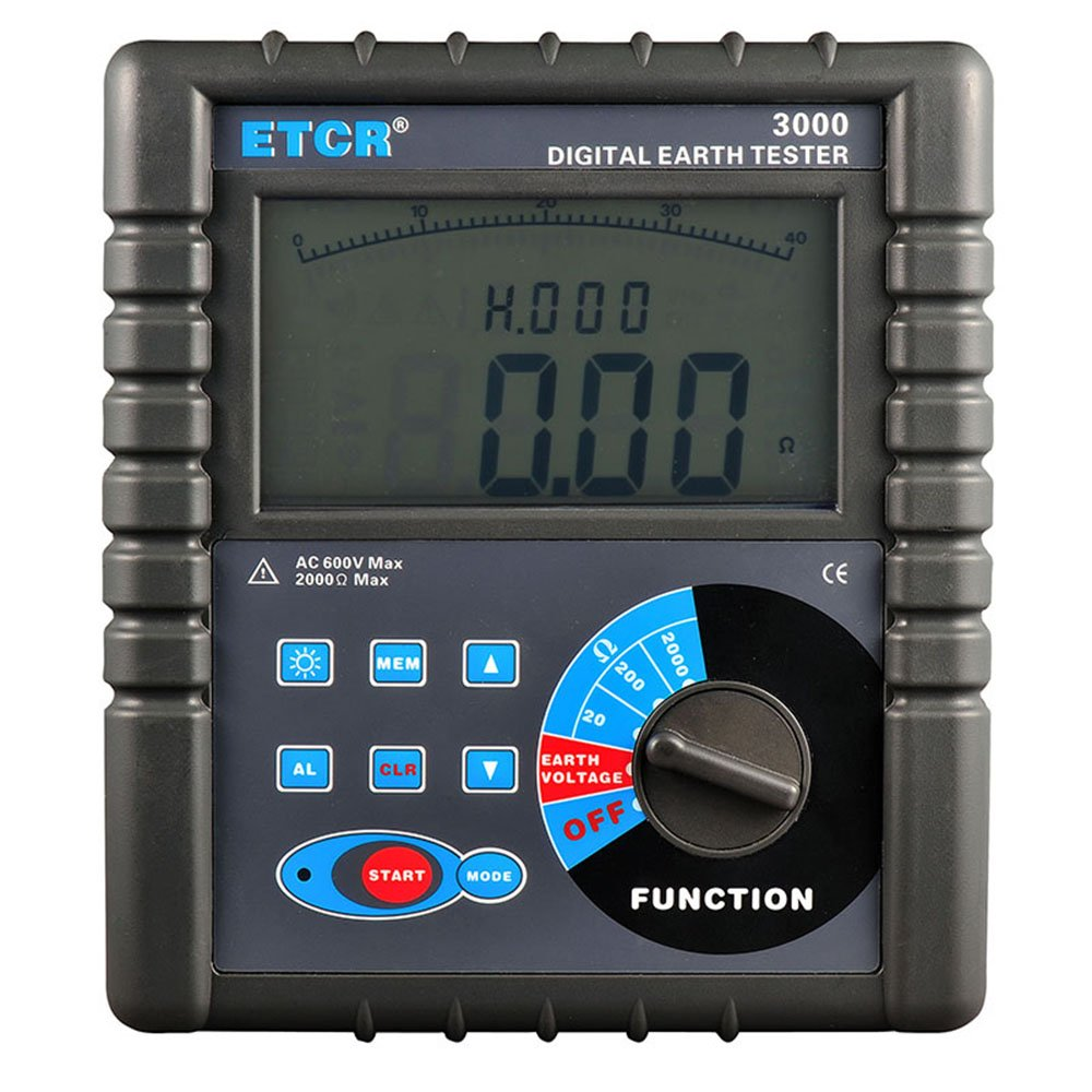 ETCR3000 Digital Earth Resistance Meter Ground Resistance Testing with RS232 Interface Data Storage and Data Read Function