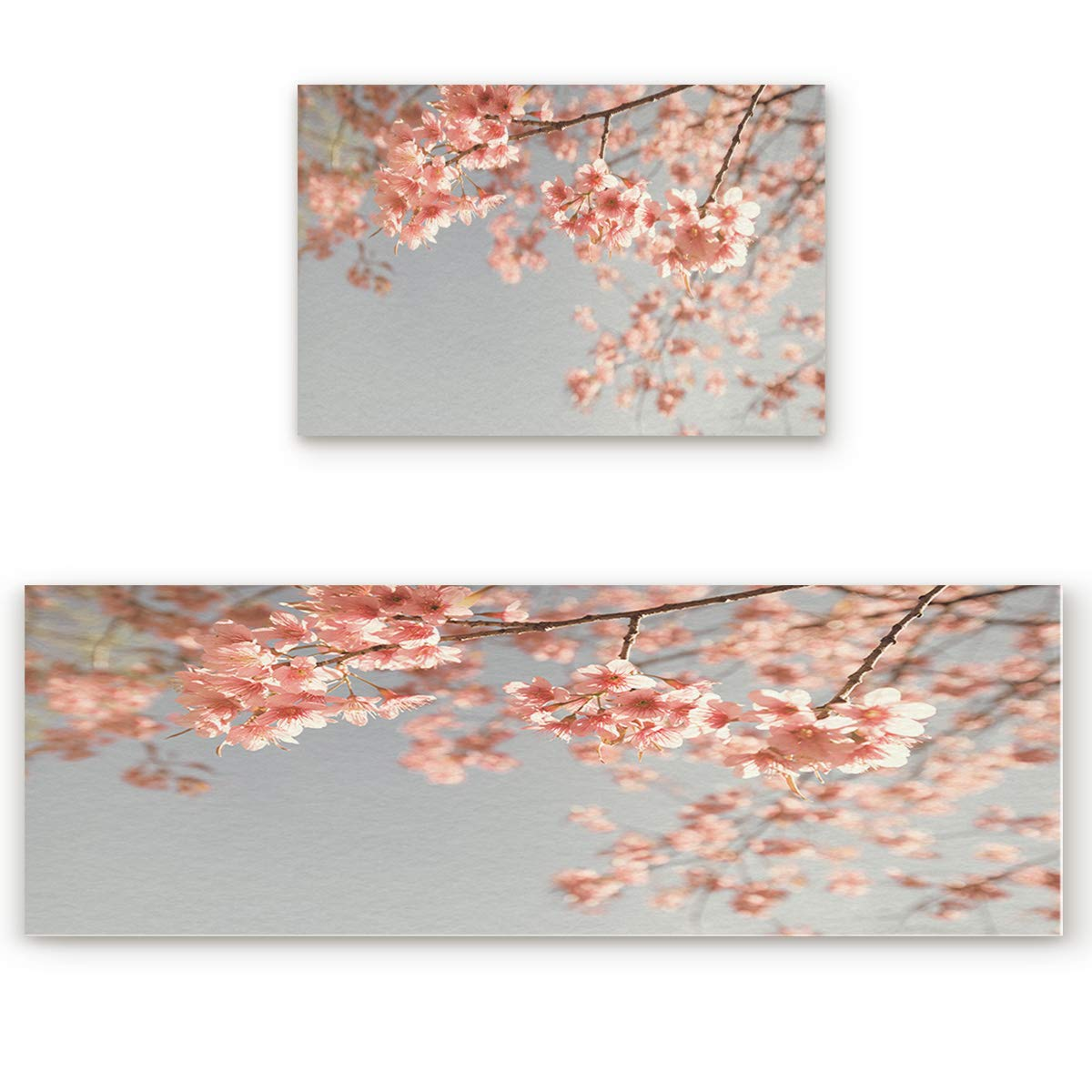 23.6\ SODIKA 2 Pieces Kitchen Rug Set,Non-Skid Slip Washable Doormat Floor Runner Bathroom Area Rug Carpet,Pink Blooming Cherry Blossoms (23.6x35.4in+23.6x70.9 inches)