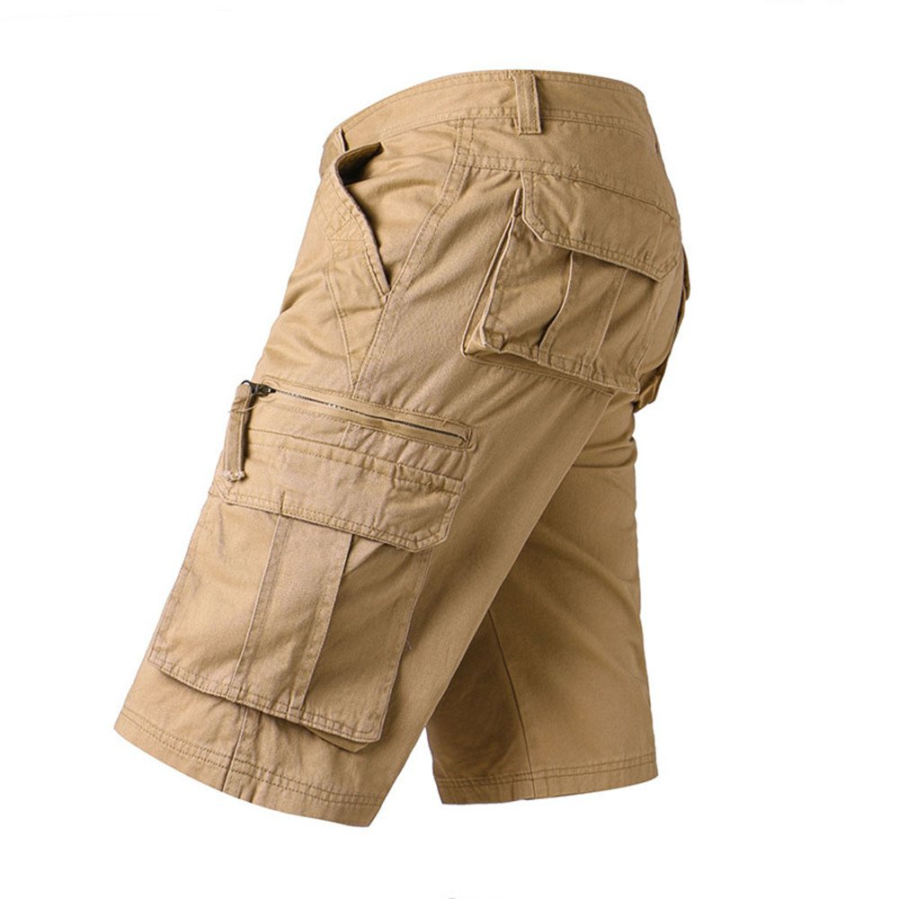 Mens Shorts Lightweight Cotton Relaxed Fit Baggy Slim Fit Zip Off Summer Cargo Pants