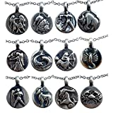 Astrology Zodiac sign pewter pendant Charm Amulet Stainless Steel Chain Necklace
