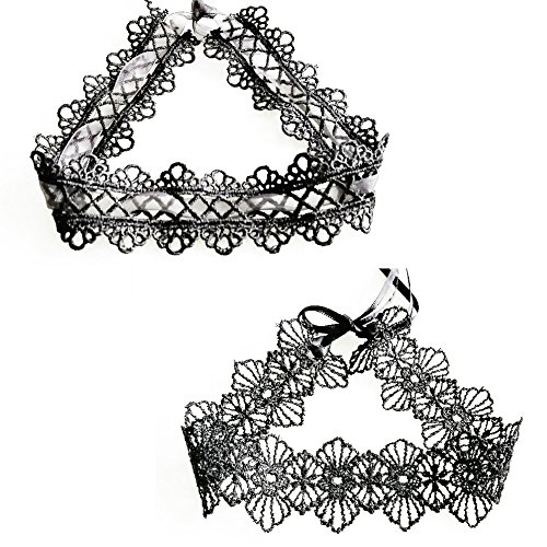 Hill & Amber [2018 New Elegant Tie Back Black Lace Choker Necklaces 2 Pcs with 2 Design -