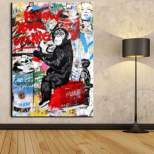 Canvas Art Dream - Faicai Art Banksy Graffiti Street Art Canvas Paintings Wall Art Drawing Chimpanzee 'Follow Your Dreams' Pop Art Prints Posters Modern Home Decorations Kids Room Wall Decor 16