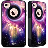 Unnito iPhone 4 Case - Hybrid Commuter Case   Slim Cover with Hard Shell Design and Soft Inner Layer Compatible with iPhone 4S Black Case - Nebula Black Hole