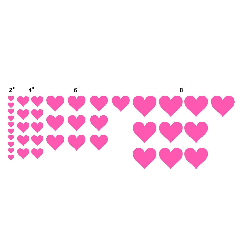 n. Sunforest 40ピンクLove Heartsビニール壁デカール取り外し可能なDIY飾りステッカー赤ちゃん保育園壁アート壁画   B06XQ3NQ81