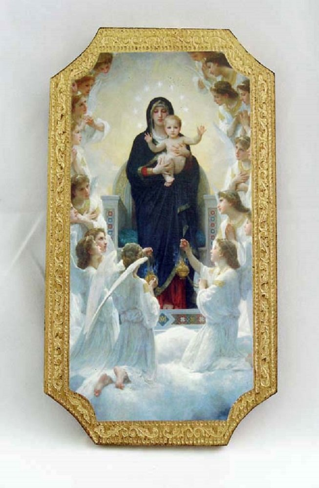 Madonna and Child enthroned Florentine plaque, 5x9 inches. Made in Italy.