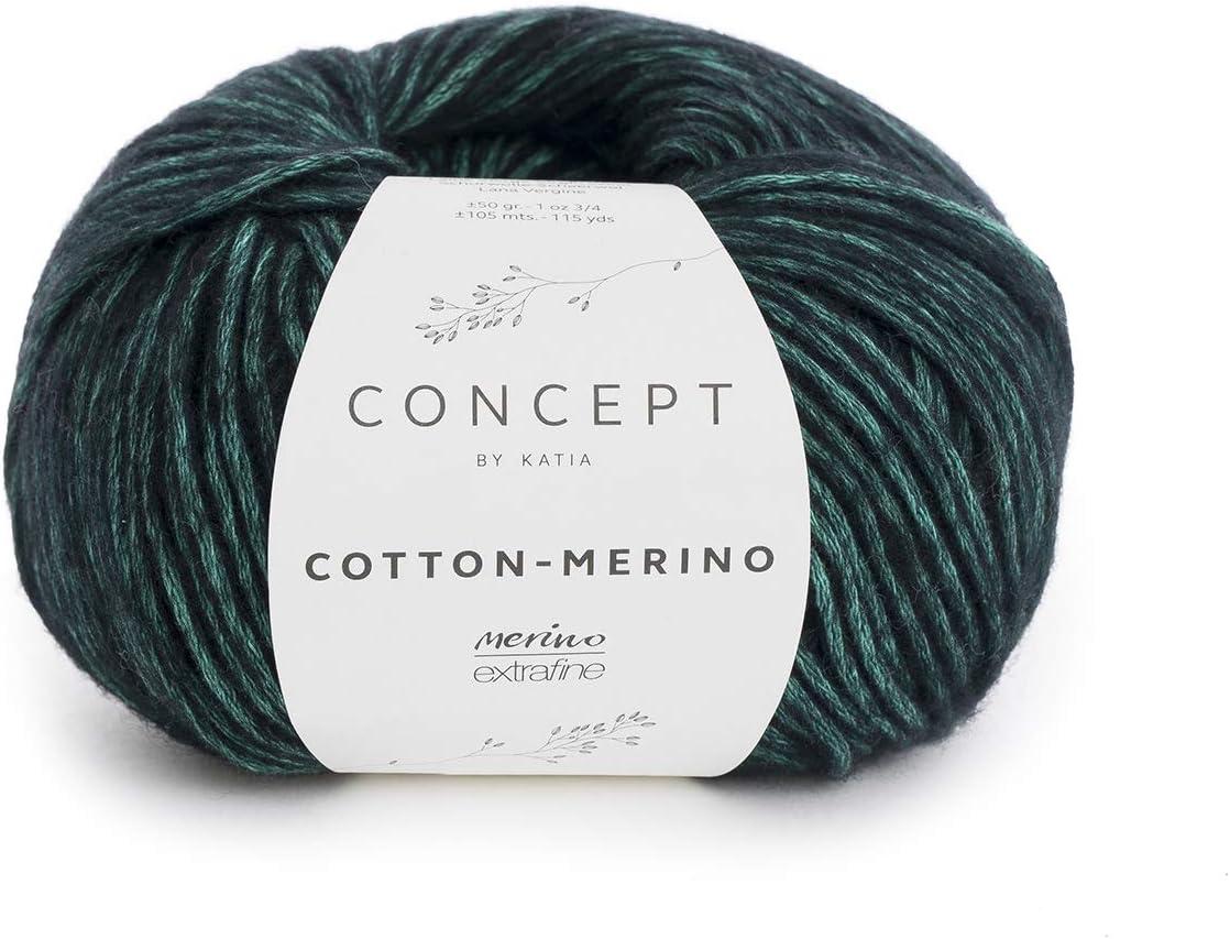 Katia Merino de Cotton Fb. 56 – Menta/Negro, 50 g lana hilo de ...