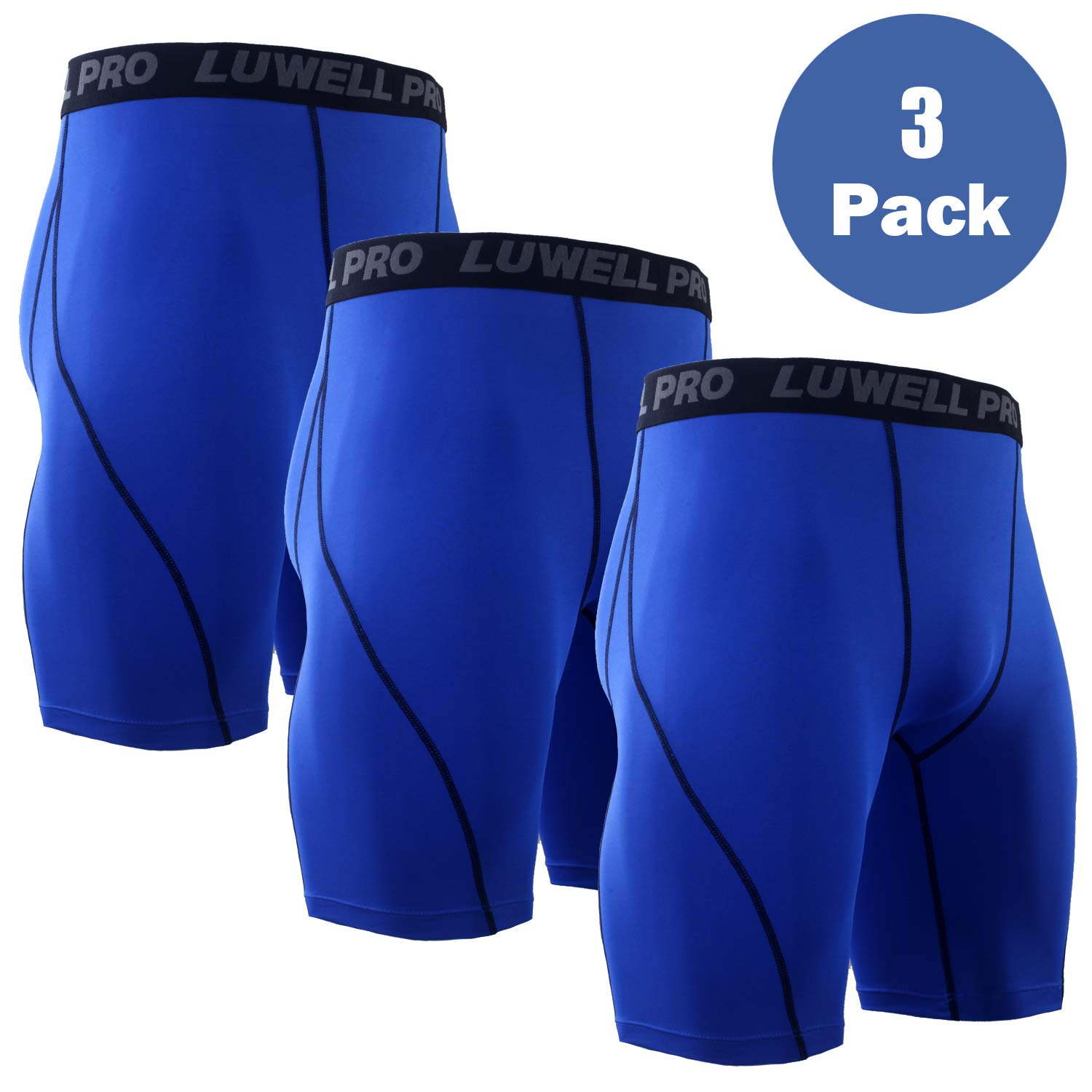 LUWELL PRO Men's 3 Pack Compression Shorts Baselayer Cool Dry Sports Tights Shorts for Running,Workout,Training(3Blue,S)