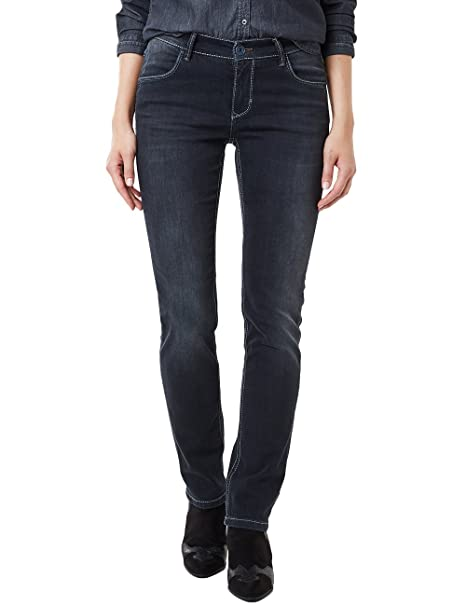 Pioneer Damen Sally Straight Jeans, Blau (Black Blue Dark Used with Buffies 353), W28L34 (Herstellergröße: 3634)