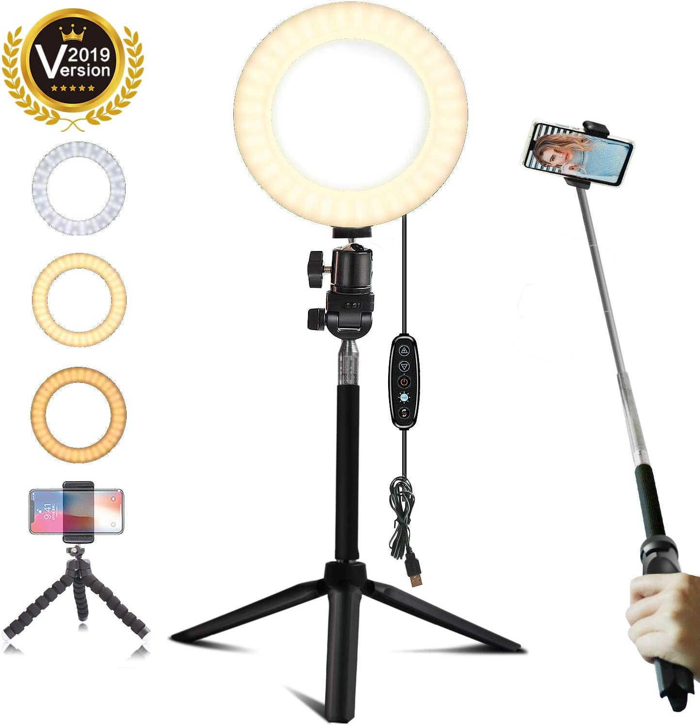 "6"" Selfie Ring Light with Tripod Stand Mini LED Camera Light with Cell Phone Holder Desktop LED Lamp with 5 Light Modes for Live Stream/Makeup/Video/Photography (white-6inch, 6 inch)"