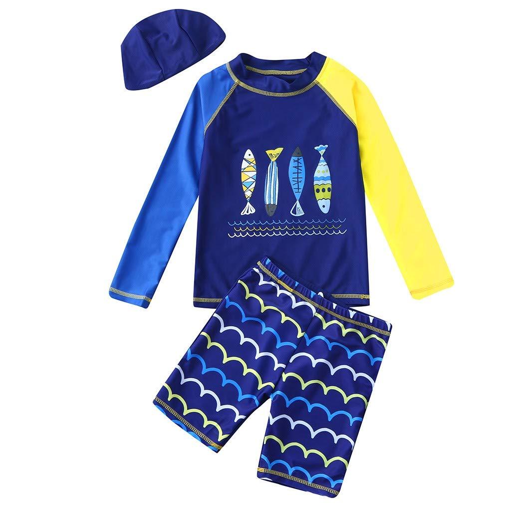 Toddler Kids Boys Swimsuit Rash Guard Set Cuekondy Cartoon Shark Print Sun Protection Shirt Tops+Shorts+Hat Bathing Suit(Blue,4-5 Years)