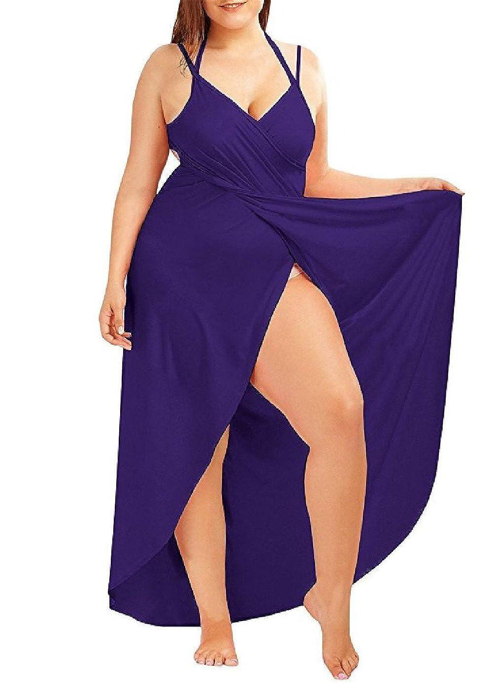 Janestone Women Plus Size Spaghetti Strap Backless V Neck Cover Up Beach Dress Bikini Cover Up with Headband