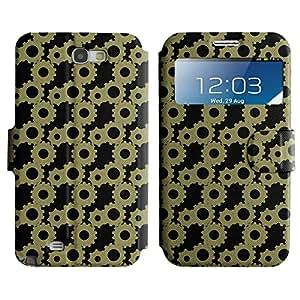 LEOCASE rueda dentada Funda Carcasa Cuero Tapa Case Para Samsung Galaxy Note 2 N7100 No.1006866