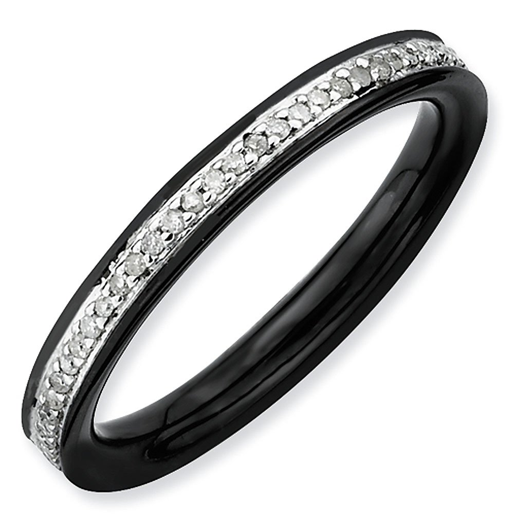 2.25mm Black Plated Sterling Silver Stackable Expressions Diamond Eternity Ring - Size 10