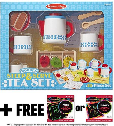 Steep & Serve Tea Set: Wooden Play Food Set + FREE Melissa & Doug Scratch Art Mini-Pad Bundle - Food Making Sandwich Play