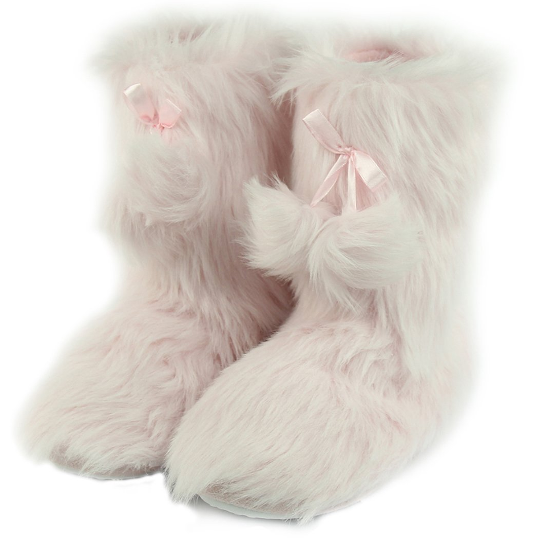 Home Slipper Women's Girl's Fluffy Slippers Pink Long Plush Fleece Indoor House Shoes Soft Lining Room Ankle Bootie Slippers,US 7/8