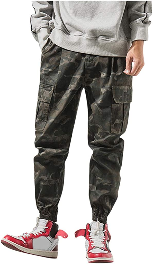 IFOUNDYOU 2020 New Mens Trousers Casual,Trousers Men Chino Mens Camouflage Pocket Loose Overalls Sweatpants Jogger Slim-Fit Trousers Men Camouflage Sport Work Pants Trousers Men