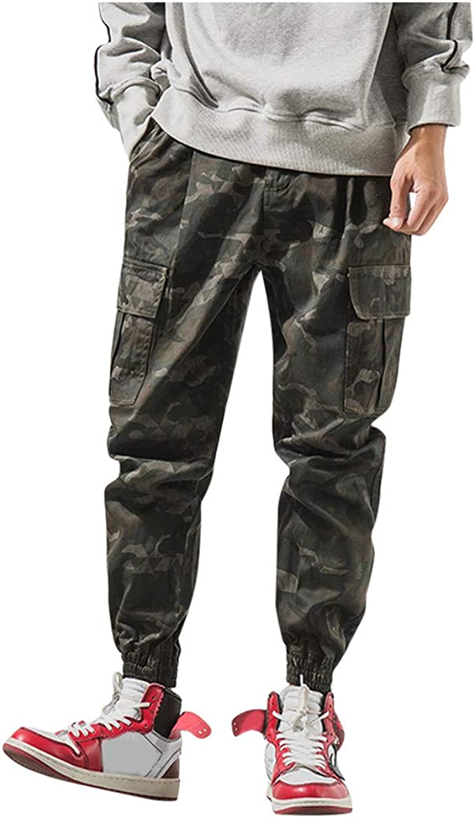 Cargo/&Chinos Mens Fashion Loose Cotton Camouflage Nine-Minute Haren Trousers Overalls Pants