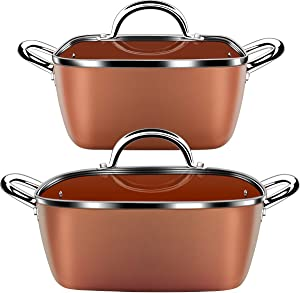Lightning Deal Classic Induction Cookware Set, Cooking Pot and Pan Set,Non-stick Square Casserole, Dishwasher Safe, Oven Safe, PFOA Free, Carnival, Father's Day Gifts, Orange 4 Pieces