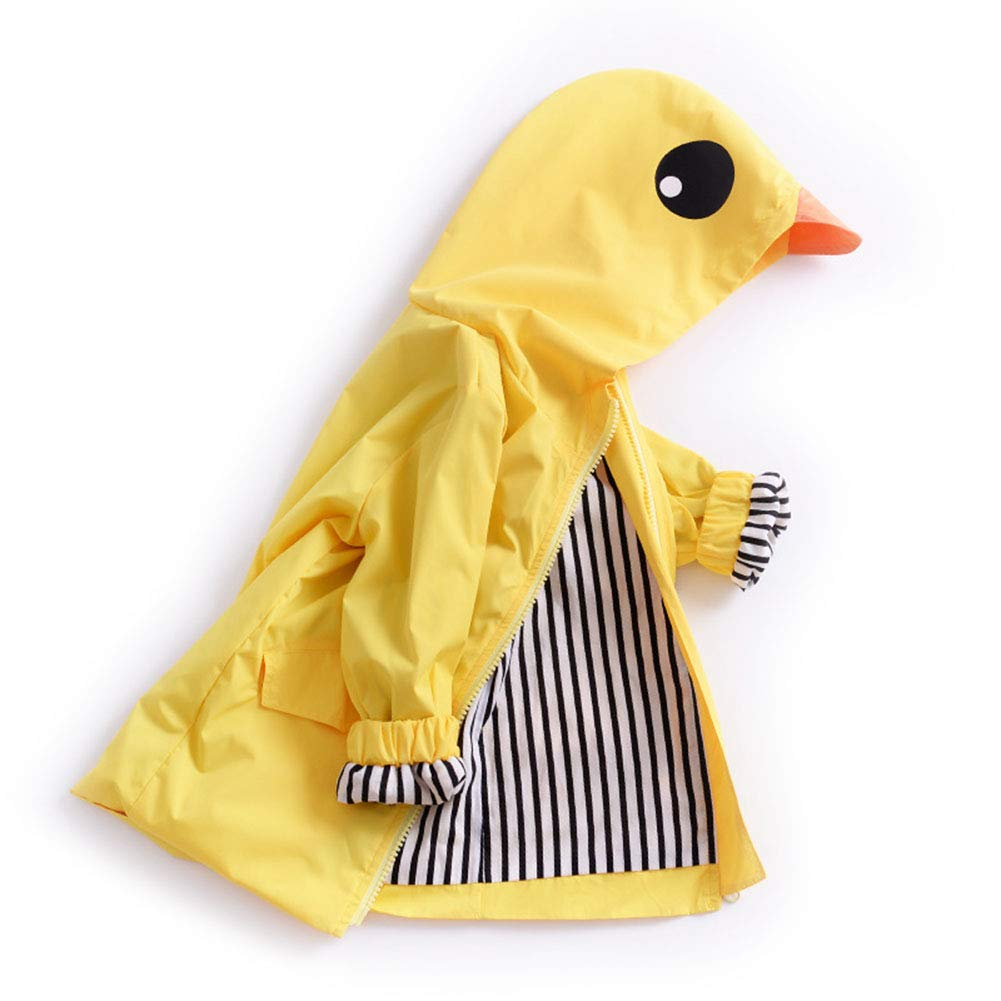 Digirlsor Baby Boys Girls Yellow Duck Raincoat Kids Hooded Zip Windbreaker Waterproof Jacket,1-5Y DC96
