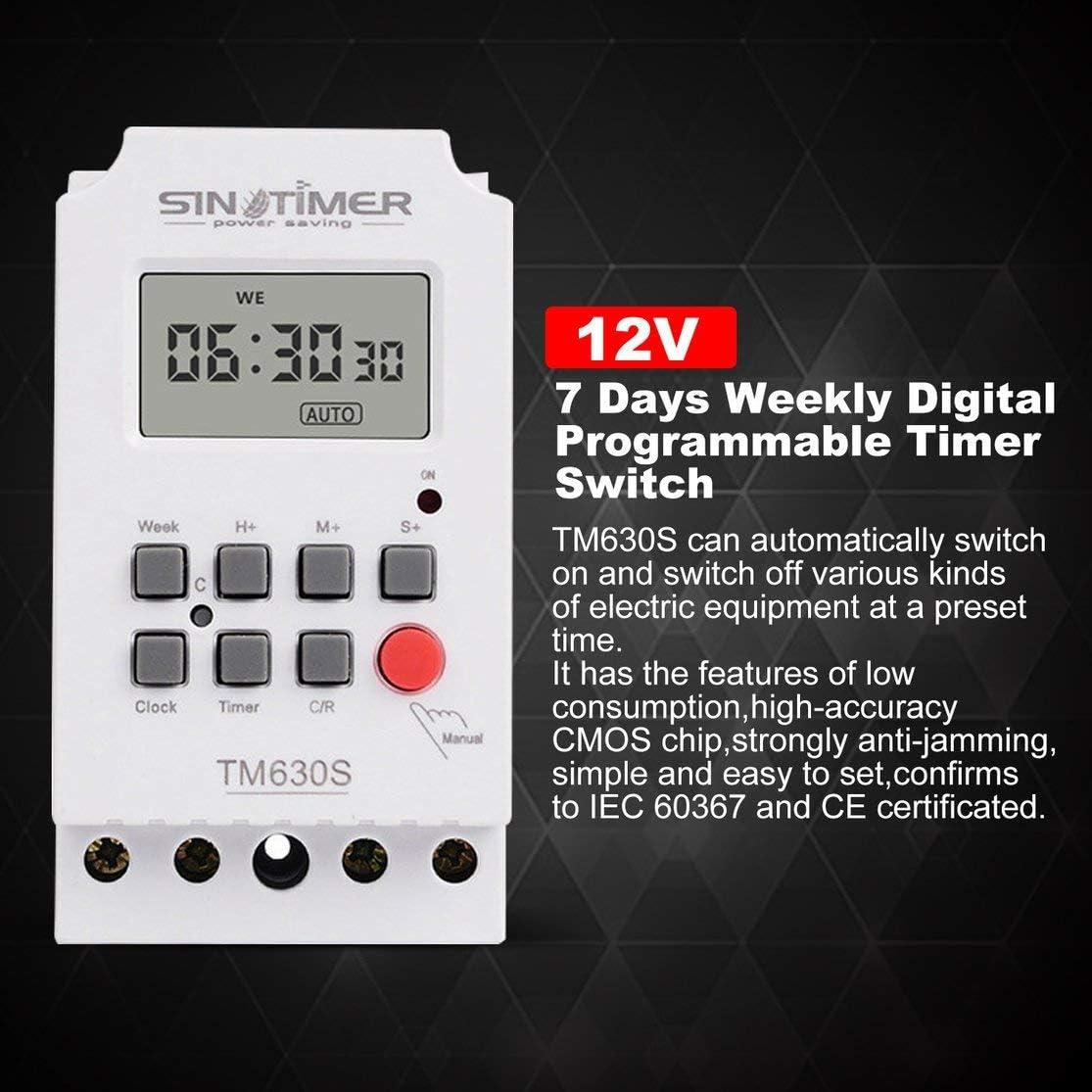 zhouweiwei TM630S-4 Interruptor Temporizador programable Digital LCD de 7 d/ías con intervalo de 1 Segundo Salida Directa de Potencia