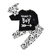 Baby Boy 3Pcs Clothes Set Mama's Boy Long Sleeve T-Shirt Tops Cartoon Panda Pants and Hat (0-6 Months)