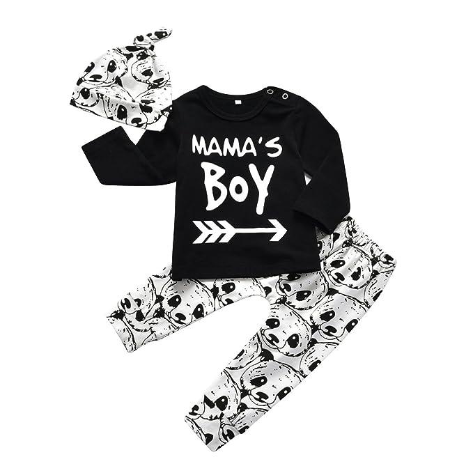 07645bb9b Baby Boy 3Pcs Clothes Set Mama's Boy Long Sleeve T-Shirt Tops Cartoon Panda  Pants