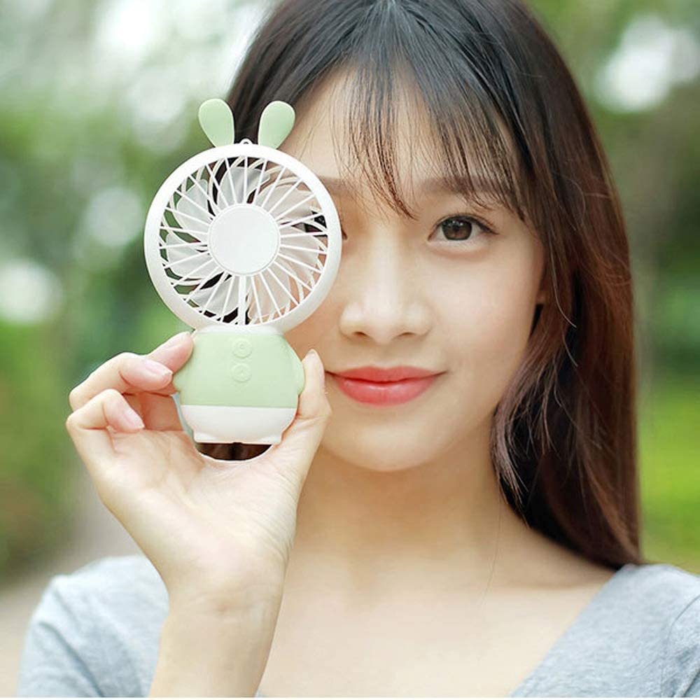 Color : Green, Size : One Size Jajx-comac USB Personal Desk Fan Rabbit Handheld Electric Fan Mini Portable USB Charging for Office Dormitory Travel for Home Office Table